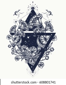 Flowers in a triangle tattoo art. Graceful flowers in mystical triangle t-shirt design. Symbol of art, freedom, astronomy, mysterious knowledge