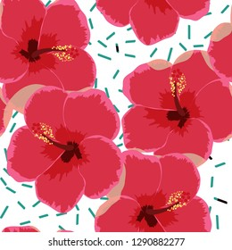 Flowers tropical seamless pattern. Hibiscus flower on a white background.