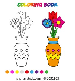 FLOWERS in vase  - coloring page. Worksheet. Game for kids -  coloring book.  Vector cartoon  illustration.