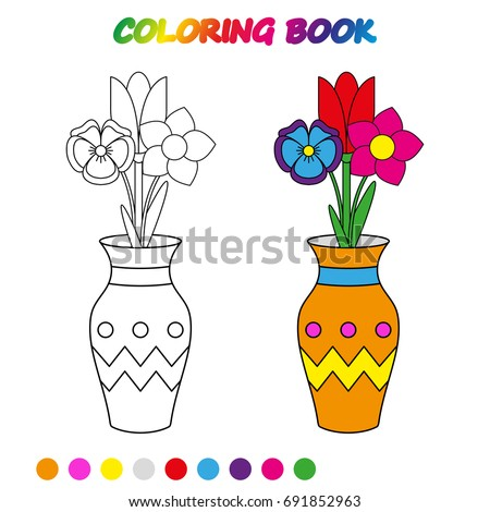 Flowers Vase Coloring Page Worksheet Game Stock Vector Royalty Free