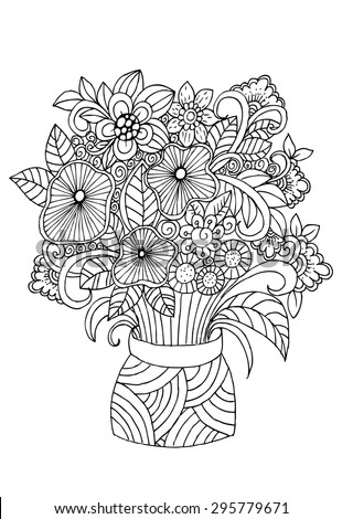 Flowers Vase Doodle Floral Pencil Drawing Stock Vector Royalty Free