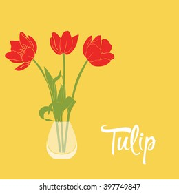 Flowers in a vase. Tulips on a yellow background