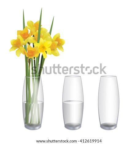 Flowers Vase Vase Water Empty Glass Stock Vector Royalty Free