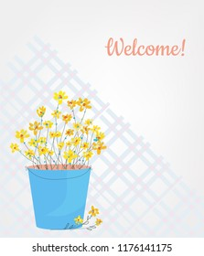 Flowers and vase welcome card for holidays, sketch style. Vector graphic illustration