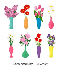 Flowers in vases. Flower pots icons. Chamomile, rose, lilac, tulip, iris, narcissus, gerbera, peony in vases. Vector Illustration