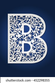 Flowers vector alphabet capital letter B. May be used as stencil or vinyl decal.