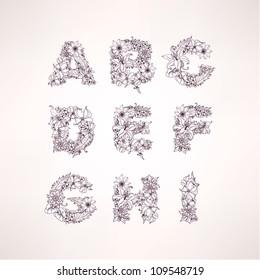 Flowers vector alphabet letters (a b c d e f g h i )