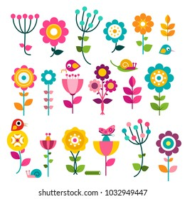 Flowers. Vector Flat Design Flowers Set Isolated on White Background.