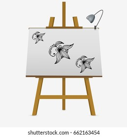 Flowers vector stock illustration. Hand drawing on easel