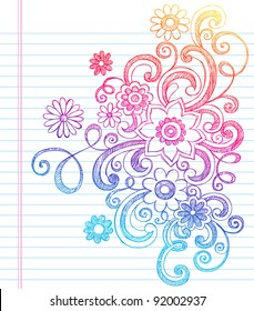 Flowers and Vines Sketchy Back to School Doodles- Notebook Doodle Vector Illustration Design Elements on Lined Sketchbook Paper Background