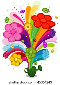 Flowers from watering can - Vector
