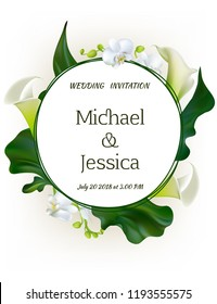 Flowers. Wedding invitation. Orchids. Floral background. Callas. Green leaves. Flower pattern.