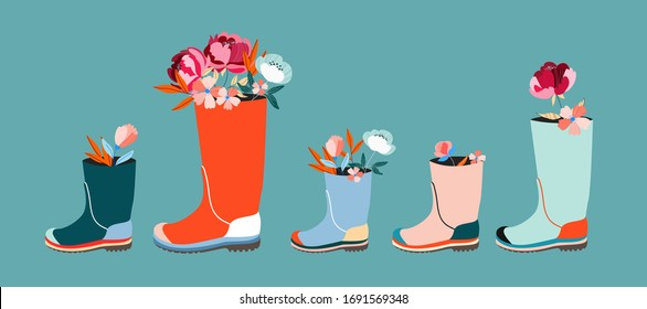 Flowers in wellies horizontal poster/ banner. Trendy vector rain boots and florals. Modern illustration design for web and print. Spring and easter holiday concept. Beautiful different kid wellies.