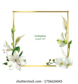 Flowers. White lilies. Golden frame. Spathiphyllum. Floral background.