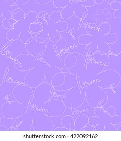 Flowers and word on violet background. Seamless reapeat pattern. Fan for paper and textile,