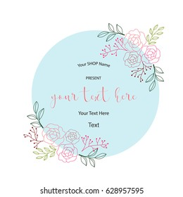 Flowers wreath, hand drawn lettering vector illustration.