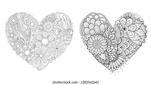 Flowers,leafs in hearted shape collection for print and adult coloring book,coloring page, colouring picture and other design element.Vector illustration