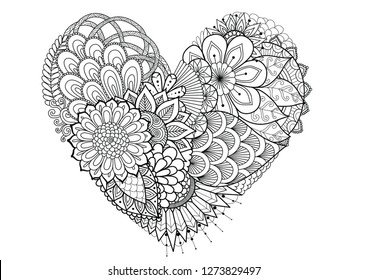 Flowers,leafs in hearted shape for print and adult coloring book,coloring page, colouring picture and other design element.Vector illustration