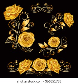 Flowers.Vector illustration with gold roses. Vintage decoration. Decorative, ornate, antique, luxury, floral elements on black background. Concept for invitation, banners, gift cards, congratulation.