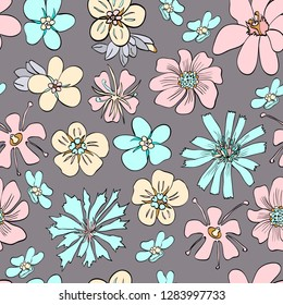 Flowery bright pattern. Flower meadow.  Floral seamless background for textile, book covers, manufacturing, wallpapers, print, gift wrap and scrapbooking - Vector illustration