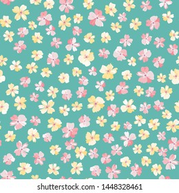Flowery bright pattern in flowers. Calico millefleurs. Floral seamless background for textile or book covers, manufacturing, wallpapers, print, gift wrap and scrapbooking