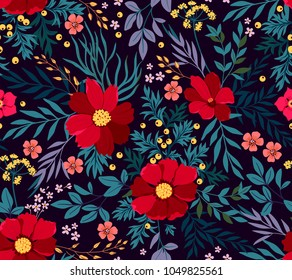 Flowery bright pattern in red flowers and blue leave. Liberty style. Floral seamless background for trendy print. Floral background. Spring bouquet.