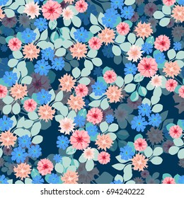 Flowery bright pattern in small-scale flowers. Calico millefleurs. Floral seamless background for textile, surface, fabric, wallpapers, print, gift wrap and scrapbooking, decoupage.