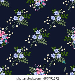 Flowery bright trendy pattern in small-scale flowers. Liberty style millefleurs. Floral seamless background for textile, surface, fabric, wallpapers, print, gift wrap and scrapbooking, decoupage.