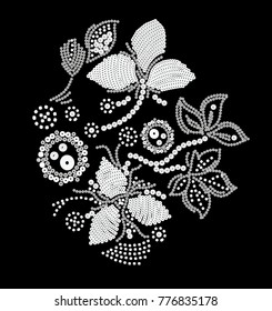 flowery embroidery design .for women's wear