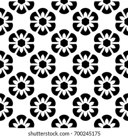 Flowery pattern. Black flowers on a white allover design. Oriental ornament. Graphic style seamless background. Decorative printing block. Vector illustration. Wallpaper, fabric, textile, scrap paper.