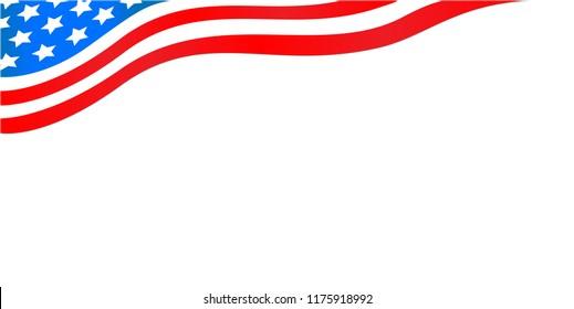 Flowing American flag banner.