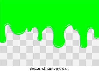 Flowing green liquid. Dripping mucus, vector.