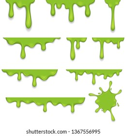 Flowing green sticky liquid paint set. Vector illustration with toxic blob on white background