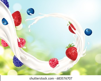 Flowing milk with fruits, refreshing milk with berries isolated on bokeh background in 3d illustration