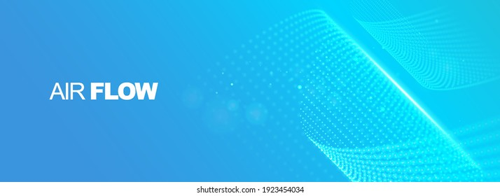 Flowing particles with depth of field. Air flow. Particle waves showing a stream of clean fresh air. Vector illustration.