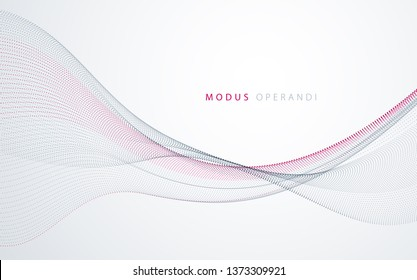 Flowing particles wave, dynamic sound motion curve lines. 3d vector illustration. Beautiful wave shaped array of blended points.