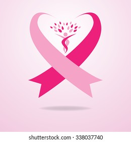 Flowing pink ribbons flow together to create a heart shape. A person with their arms reaching outwards is designed to resemble a tree, which is placed in the center of the heart shape ribbon.