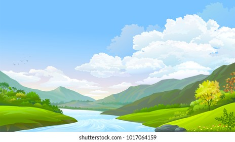 A flowing river, blue sky, high mountains and green meadows