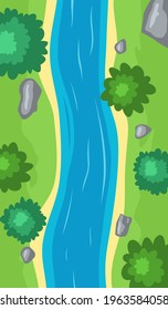 Flowing river top view, cartoon curve riverbed with blue water, coastline with stones, trees and green grass. Illustration of summer scene with brook flow with sand shore. Vector illustration