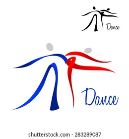 Flowing stylized dancing couple icon in red and blue with a black color variant for sport logo design