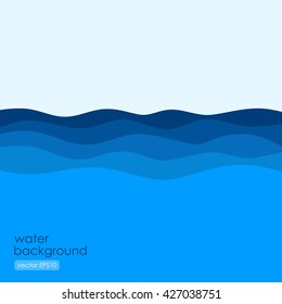Flowing waves in flat style, abstract illustration
