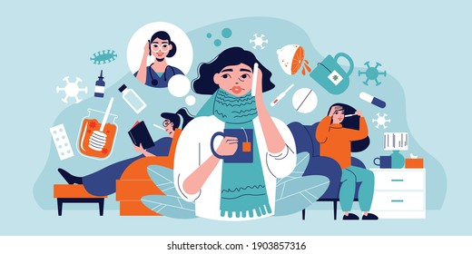 Flu cold composition with human characters representing common symptomes and icons of virus bacteria and medication vector illustration