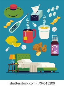 Flu cold fighters and must-haves. Cool vector items on common cold and flu including medication, hot beverages, bed rest, lemon, vitamins, etc. Flu season flat design icons and symbols