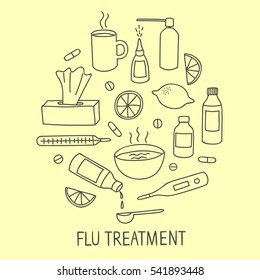 Flu and cold treatment doodle elements set. Including pills, syrups, food. Hand drawn health-care elements for your design.