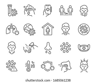 Flu and coronavirus icons set. Collection of linear simple web icons such as hygiene, disinfection, symptoms, treatment, virus, prevention and other. Editable vector stroke.