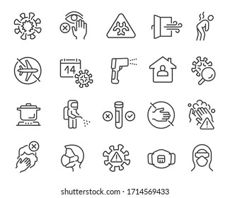 Flu and coronavirus icons set. Collection of linear simple web icons such as virus, prevention, quarantine, incubation period, test, disinfection, mask, symptoms, protection, infected zone, etc