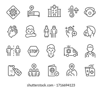 Flu and coronavirus icons set. Collection of linear simple web icons such as coronavirus infection, disease prevention, doctor, hospital, oxygen mask, symptoms, remedies, quarantine, etc. Editable