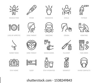 Flu disease prevention, cold symptoms flat line icons set. Fever headache sneeze, sore throat vector illustrations. Outline signs medical healthcare infographic. Pixel perfect. Editable Strokes.