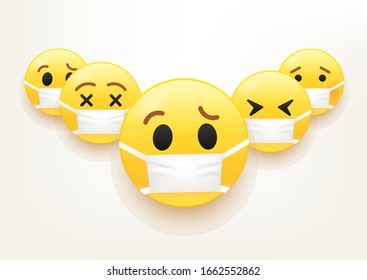 Flu epidemic vector concept. Group of emoji with mask