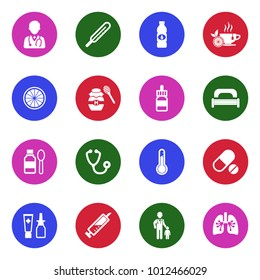 Flu Icons. White Flat Design In Circle. Vector Illustration.